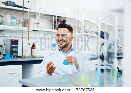 Successful chemist working with new vaccine