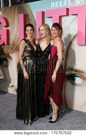 LOS ANGELES - FEB 7:  Shailene Woodley, Nicole Kidman, Laura Dern at the