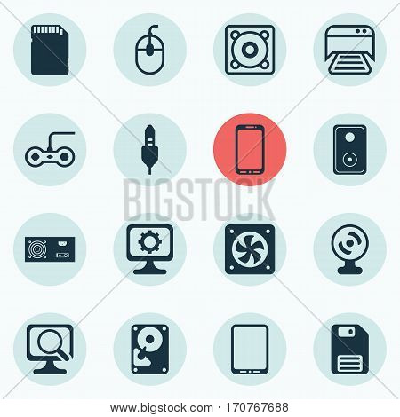 Set Of 16 Computer Hardware Icons. Includes Audio Device, Power Generator, Control Device And Other Symbols. Beautiful Design Elements.