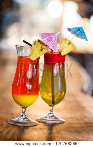 View of two cocktails on a counter