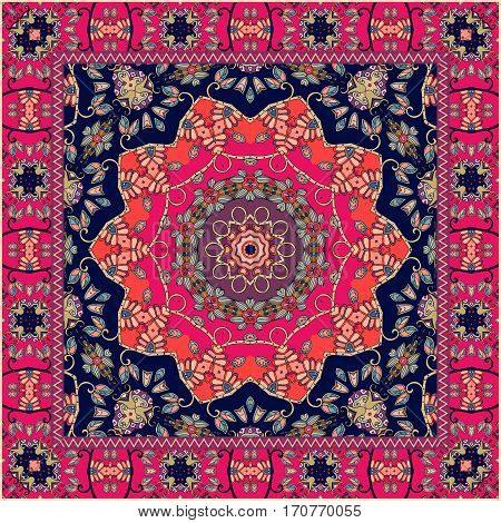 Carpet. Tablecloth. Shawl. Bandana. Vector. Boho style. Scarf.