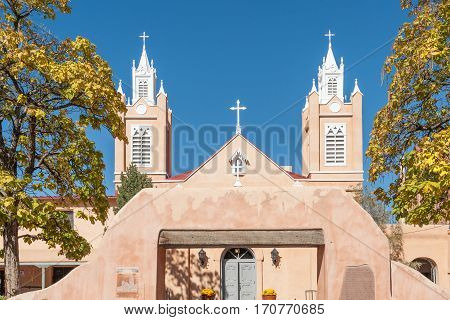 Spanish San Felipe de Neri church in Albuquerque historic Old Town, NM