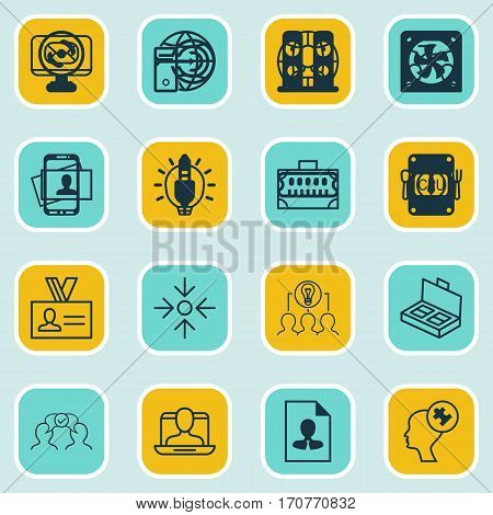 Set Of 16 Business Management Icons. Includes Cv, Collaborative Solution, Calling Card And Other Symbols. Beautiful Design Elements.