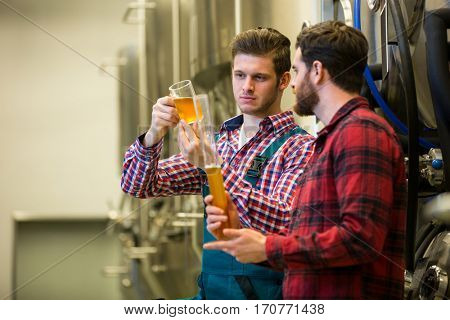 Brewers testing beer at brewery factory