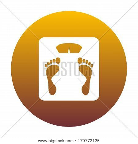 Bathroom scale sign. White icon in circle with golden gradient as background. Isolated.