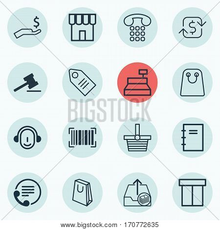 Set Of 16 Ecommerce Icons. Includes Shop, Callcentre, Till And Other Symbols. Beautiful Design Elements.