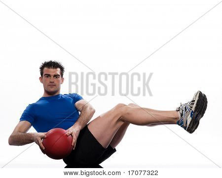 man doing ball abdominals workout posture on isolated white background