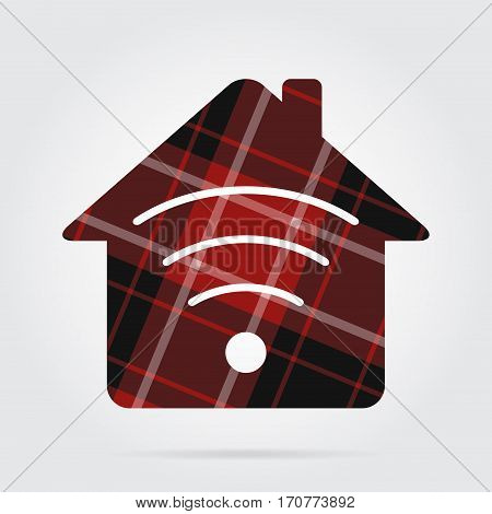 red black isolated tartan icon and white stripes - house with signal and shadow in front of a gray background