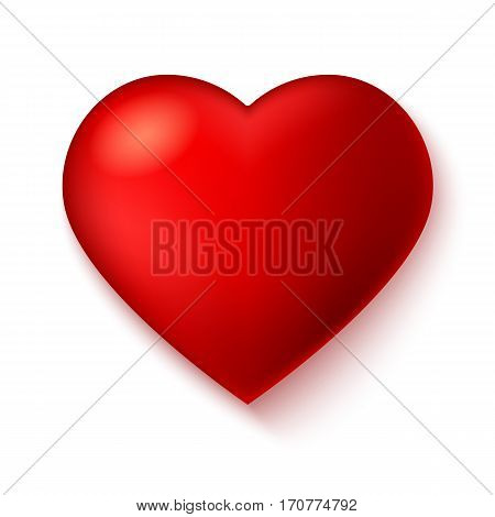 Big red, a scarlet heart isolated on white background with shadow. Elegant symbol, Icon, 3D illustration for use in template for greeting card, shape closeup, red heart icon for web sites and apps.