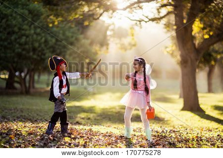 Full length of playful siblings wearing costumes at park on sunny day