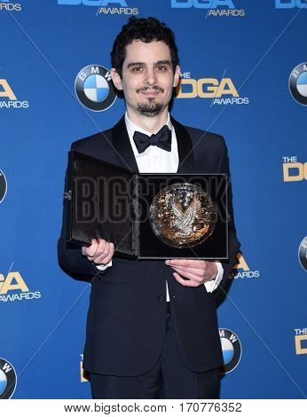 LOS ANGELES - FEB 04:  Damien Chazelle in the press room at the 69th Annual DGA Awards on February 4, 2017 in Beverly Hills, CA