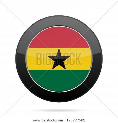 National flag of Ghana. Shiny black round button with shadow.