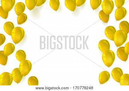 Festive background for greeting cards, presentations, commercial ad with color, inflatable balloons. Stylish greetings happy birthday card with inflatable balloons on white background