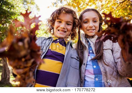Low angle portrait of siblings showing autumn leaves while standing at park