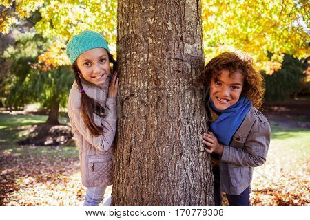 Portrait of smiling siblings leaning on tree trunk at park during autumn