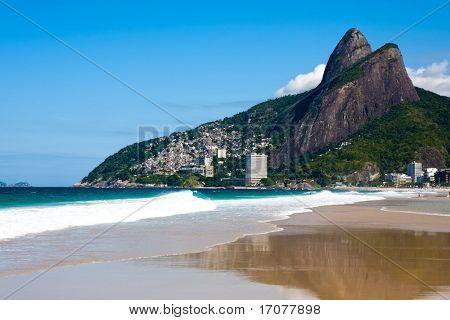 view of leblon beach in rio de janeiro brazil poster
