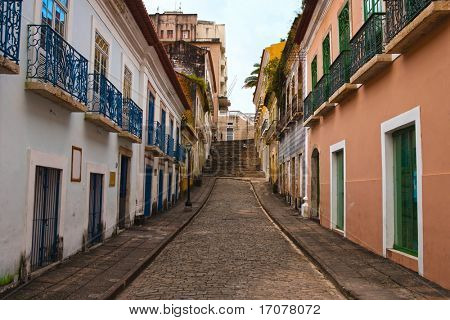 street of the historic center of the city of sao luis of maranhao in brazil poster