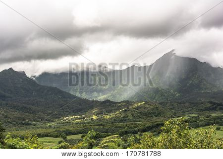 Mountains in Hanalei Valley in Kauai, Hawaii
