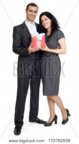 romantic couple with gift box, people dressed in black suit, man gives gift to woman, isolated on white background