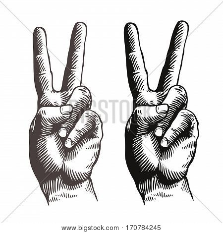 Hand gesture peace sign, symbol. Sketch vector illustration isolated on white background