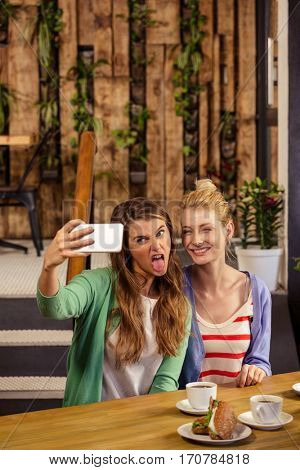 Smiling friends taking a selfie in the cafe
