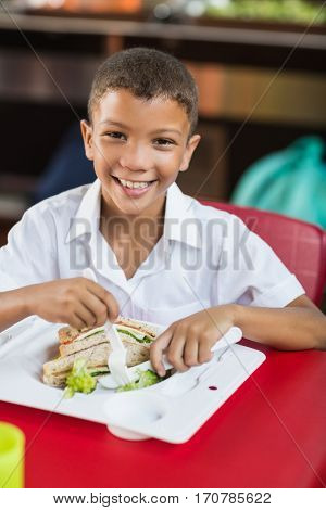Portrait of schoolboy having lunch during break time in school cafeteria