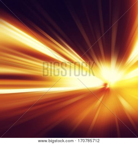 Abstract image of speed motion in the tunnel.