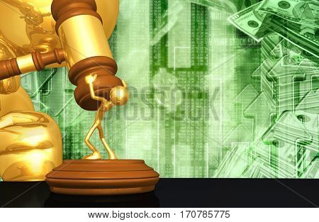 Financial Market Law Concept With The Original 3D Character Illustration