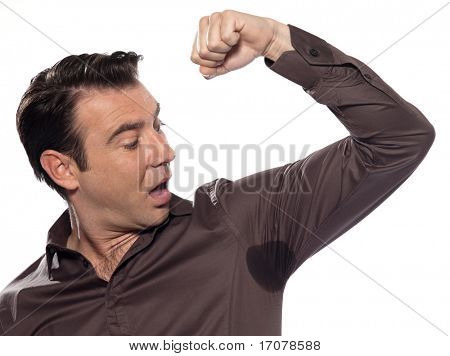 man sweating perspiring stain astonished isolated studio on white background