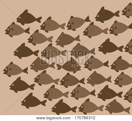 One fish swim in different direction