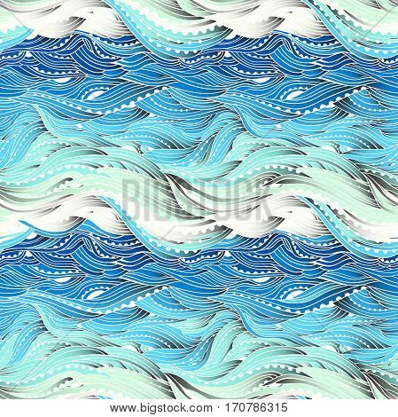Abstract seamless water pattern, hand-drawn waves vector, blue wave background, sea pattern, EPS 10