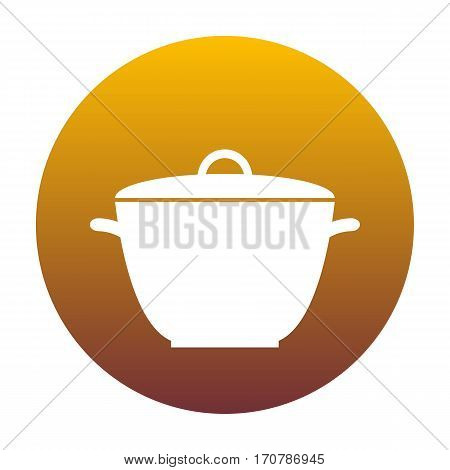 Saucepan simple sign. White icon in circle with golden gradient as background. Isolated.