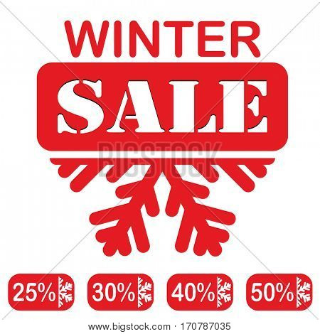 Winter Sale, red Stamp, text and discounts isolated on white background.  illustration.