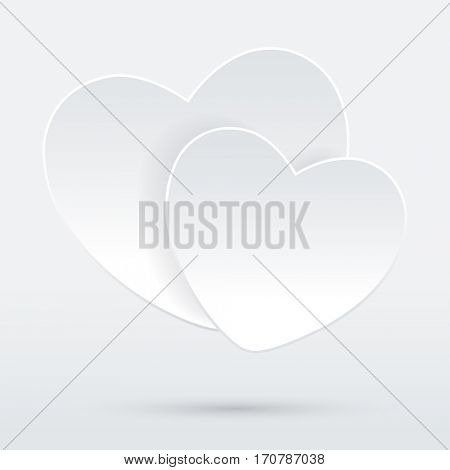Two white Hearts on a grey background. Valentines Day. illustration.