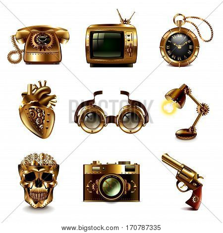 Steampunk icons detailed photo realistic vector set