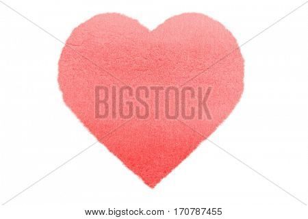 Painted Red Watercolour Heart isolated on white