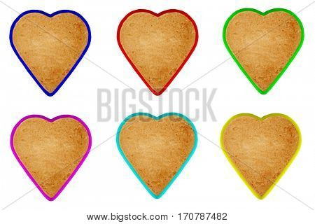 Heart Shaped Cookies with coloured edges isolated on white