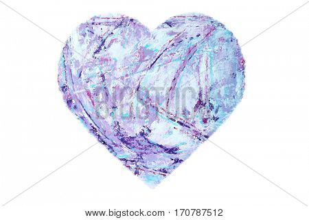 Painted Purple Heart isolated on white