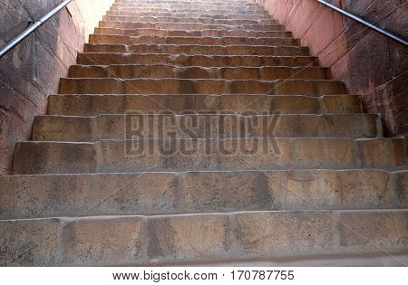 DELHI, INDIA - FEBRUARY 13: Stairs in Humayun's Tomb, built by Hamida Banu Begun in 1565-72, Delhi, India on February 13, 2016.