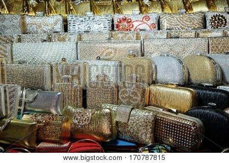 KOLKATA, INDIA - FEBRUARY 10: Decorative handbags displayed for sale in New Market area, Kolkata, India on February 10, 2016.