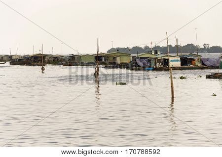 Fish Farm Houses Floating On Mekong River, My Tho, Vietnam