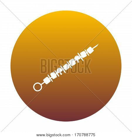 Shish kebab on skewers sign. White icon in circle with golden gradient as background. Isolated.