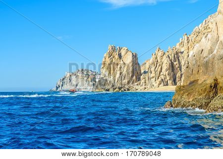 The arch point (El Arco) at Cabo San Lucas, Mexico. View from open ocean side. Divorce Beach (Playa del Divorcio).