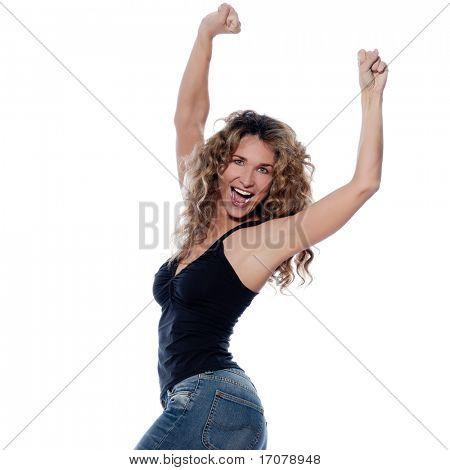 beautiful caucasian woman joyful portrait isolated studio on white background