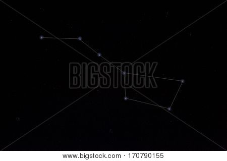 Constellations. Ursa Major (Great bear) on the night sky