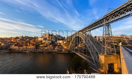 Douro river and Dom Luis I Bridge in Porto, Portugal.