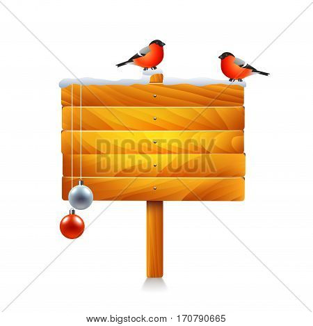 Christmas wooden sign with bullfinches isolated on white vector