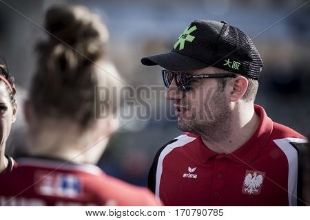 VALENCIA, SPAIN - FEBRUARY 7: Poland coach Rachwalski during Hockey World League Round 2 match between Ghana and Poland at Betero Stadium on February 7, 2017 in Valencia, Spain