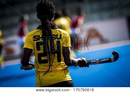 VALENCIA, SPAIN - FEBRUARY 7: Queensilla Shaibu during Hockey World League Round 2 match between Ghana and Poland at Betero Stadium on February 7, 2017 in Valencia, Spain