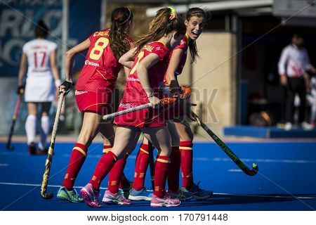 VALENCIA, SPAIN - FEBRUARY 7: Spanish players celebrate a goal during Hockey World League Round 2 match between Spain and Turkey at Betero Stadium on February 7, 2017 in Valencia, Spain